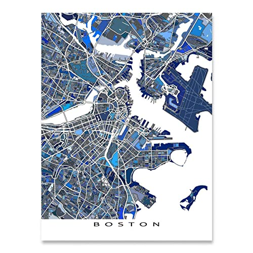 Amazon Com Boston Map Print Massachusetts Usa City Street Art