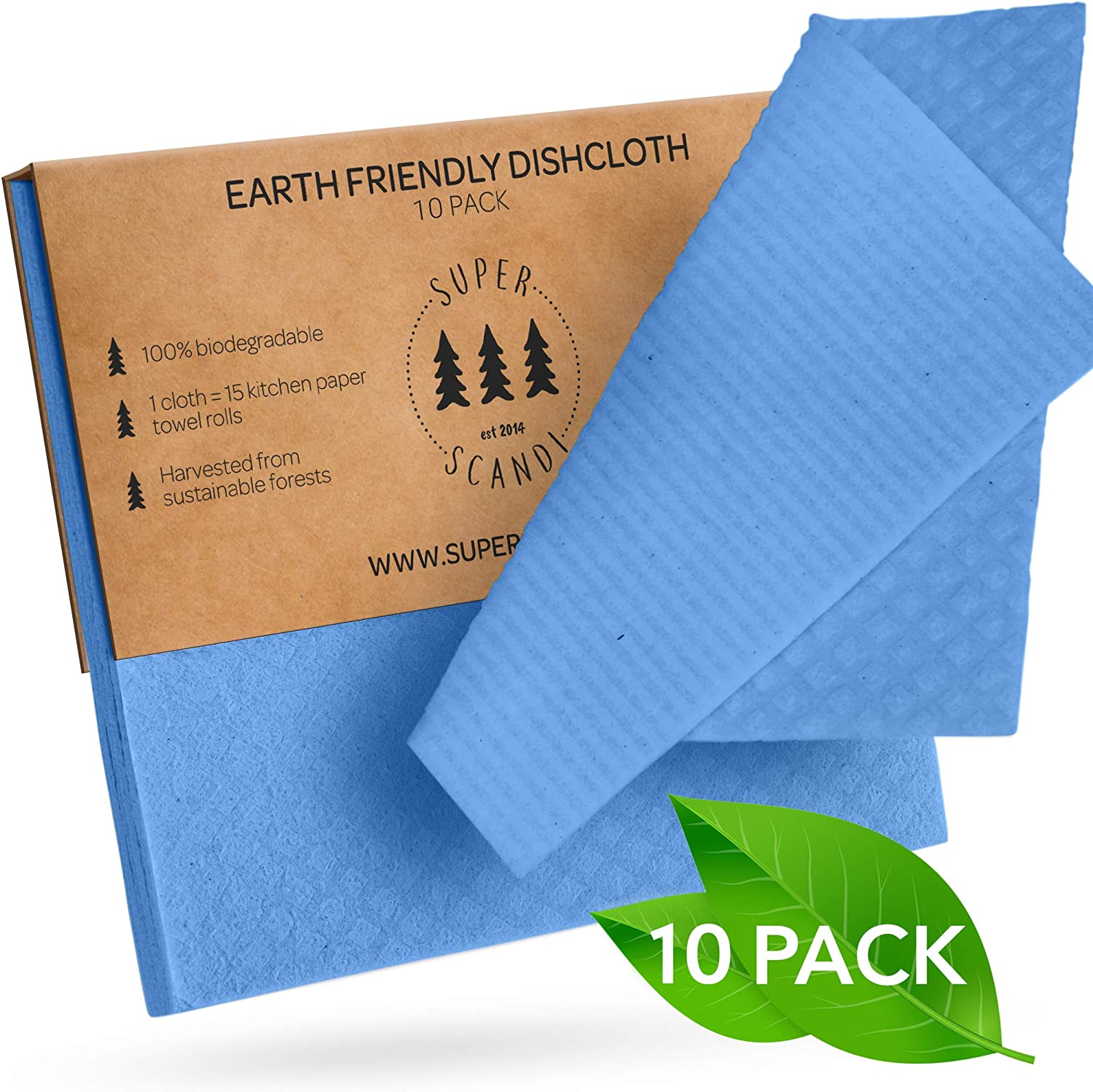 SUPERSCANDI Swedish Dishcloths Eco Friendly Reusable Sustainable Biodegradable Cellulose Sponge Cleaning Cloths for Kitchen Dish Rags Washing Wipes Paper Towel Replacement Washcloths (10 Pack Blue)