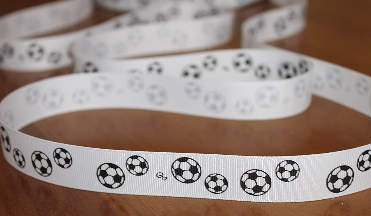soccer print 22mm grosgrain ribbon football print ribbon 2m