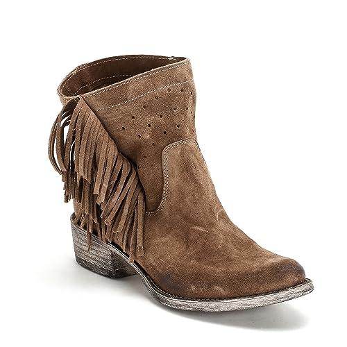 ALESYA by Scarpe&Scarpe - Botines Bajos con Calado y Flecos, de Piel, con Tacones 4 cm - 37,0, Tórtola: Amazon.es: Zapatos y complementos
