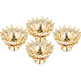 Obbi tm obbi Brass Crystal Round Bowl Shape Kamal Deep Akhand Jyoti Oil Lamp (Gold, 4-inches/Small) - Pack of 4