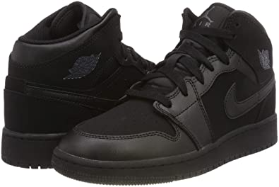 c59dfe718b389 Nike Jordan Youth Air Jordan 1 Mid Leather Synthetic Black Dark Grey  Trainers 7 US