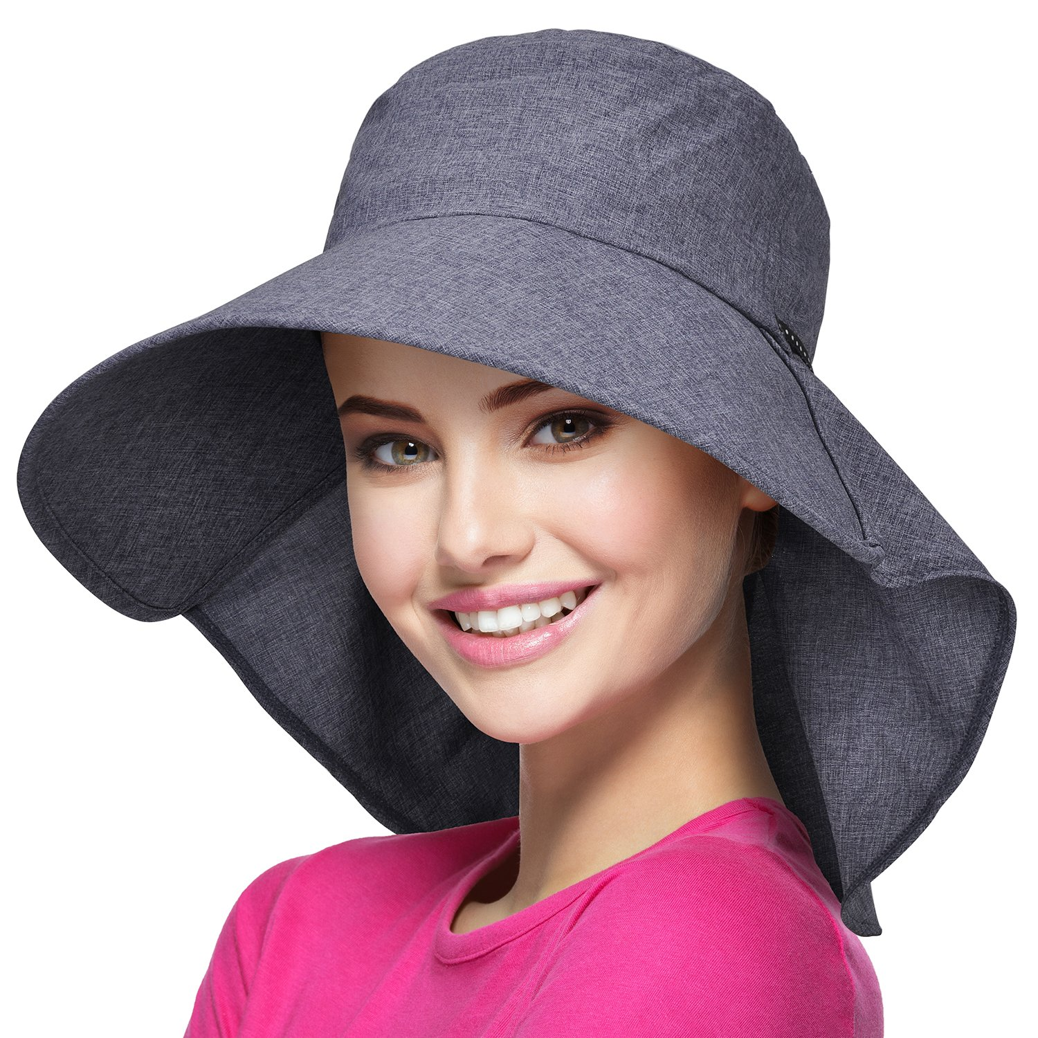 Womens Wide Brim Sun Protection Hat w/Flap Neck Cover for Summer Safari Hiking