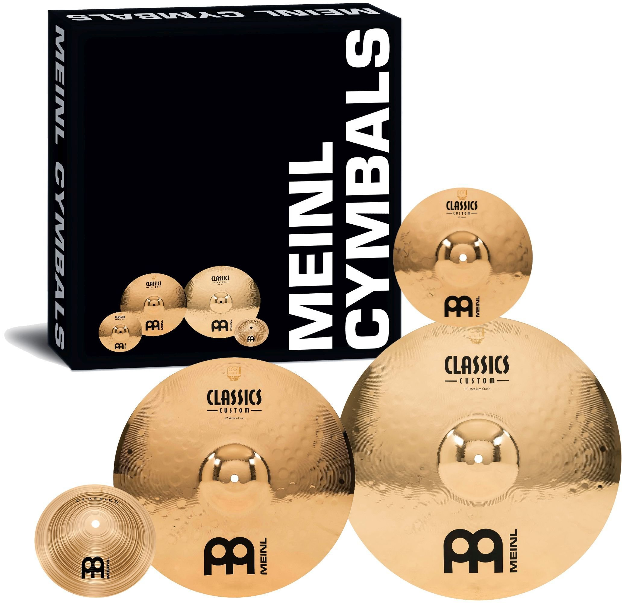 Meinl Cymbals CC68+10S+C8BM Classics Custom Crash Pack Cymbal Box Set with FREE Splash and FREE Bell by Meinl Cymbals