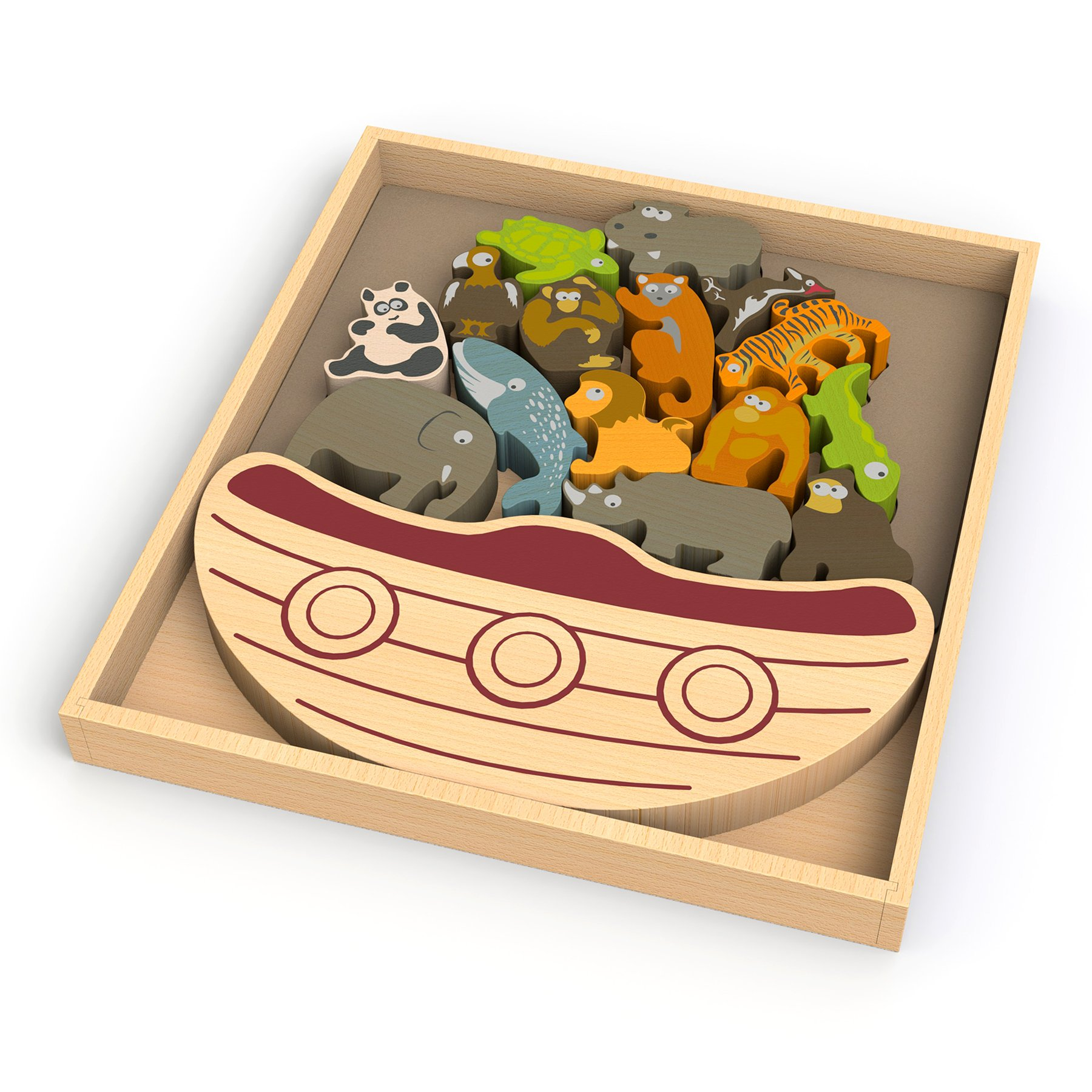 BeginAgain Balance Boat Endangered Animals Game, Make Learning Fun and Help Spark Your Child's Imagination, Helps Promote Active Play and Develop Motor Skills (For Kids 3 and Up)