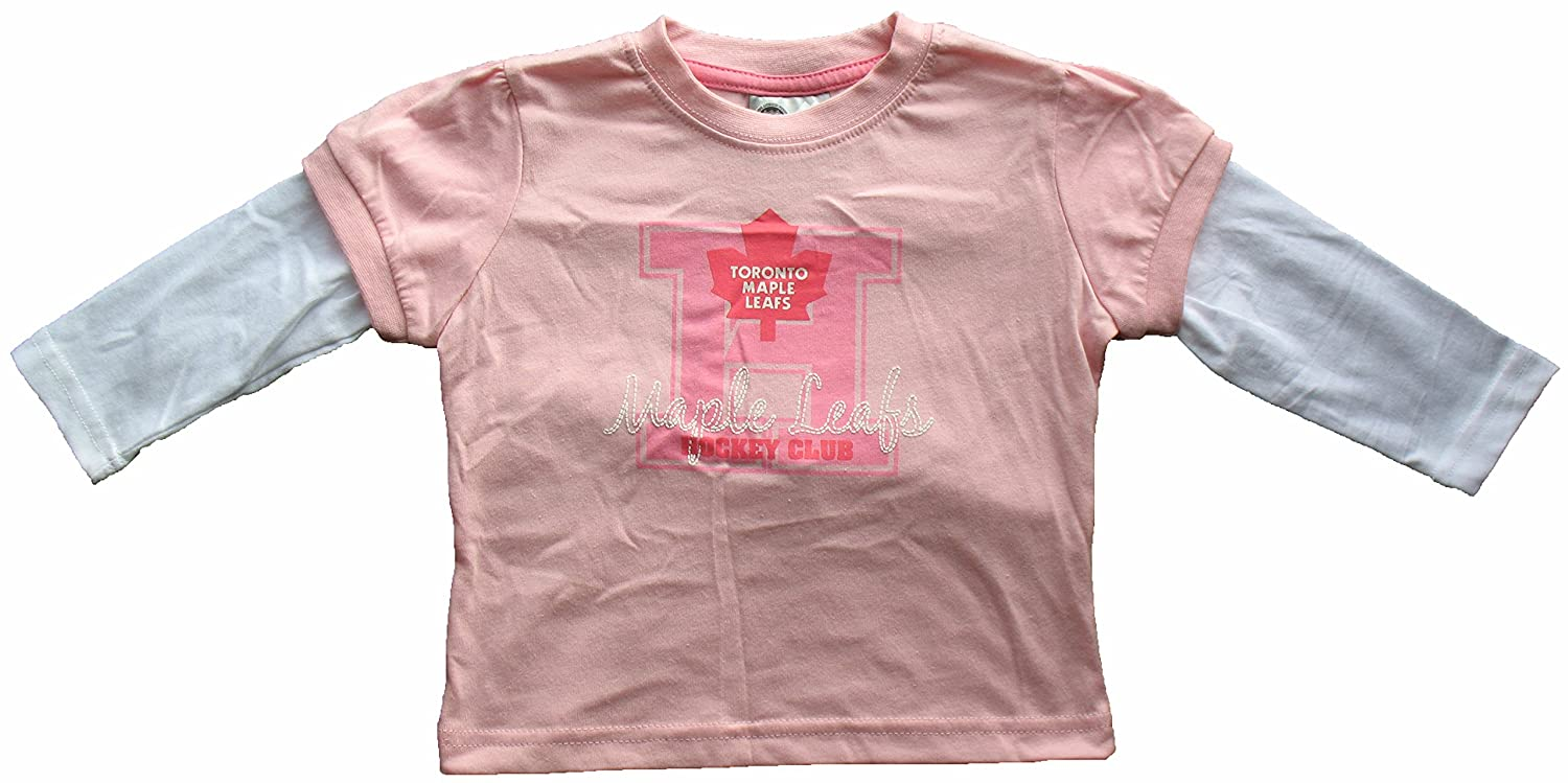 Toronto Maple Leafs Youth Girls Pink Faux Layer Long Sleeve T-Shirt Mighty Mac