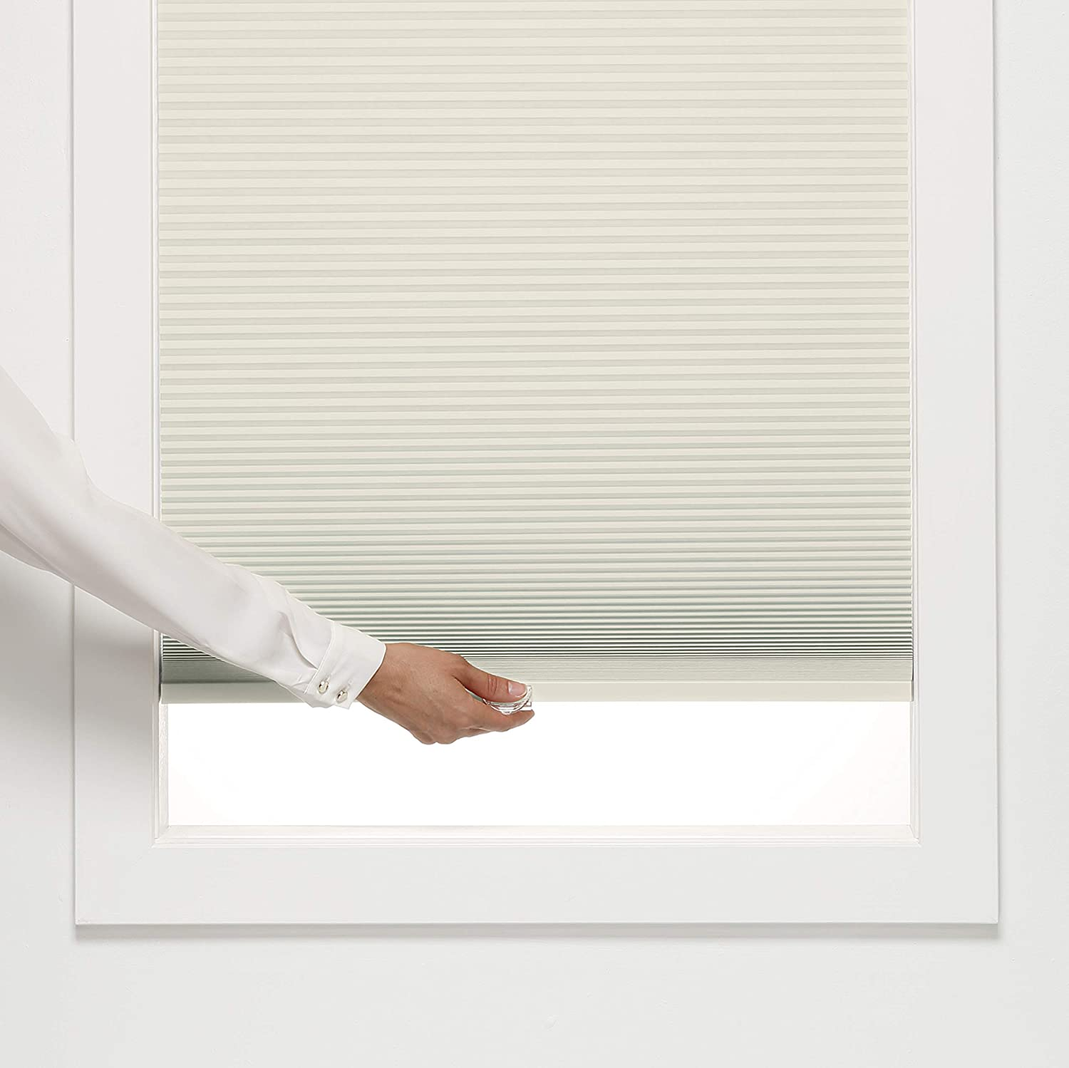 DEZ Furnishings QCCR220840 Cordless Light Filtering Cellular Shade Cream 22W x 84H Inches
