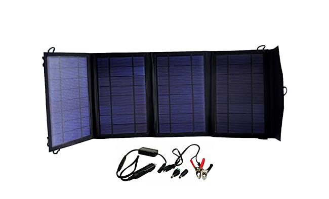 front facing instapark mercury 27 foldable solar-powered battery charger