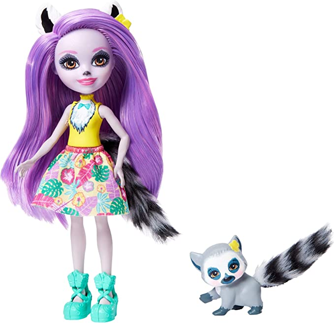 Enchantimals GFN44 Larissa Lemur Doll (6-in) & Ringlet Animal Friend Figure, Multicolour,Mattel,GFN44