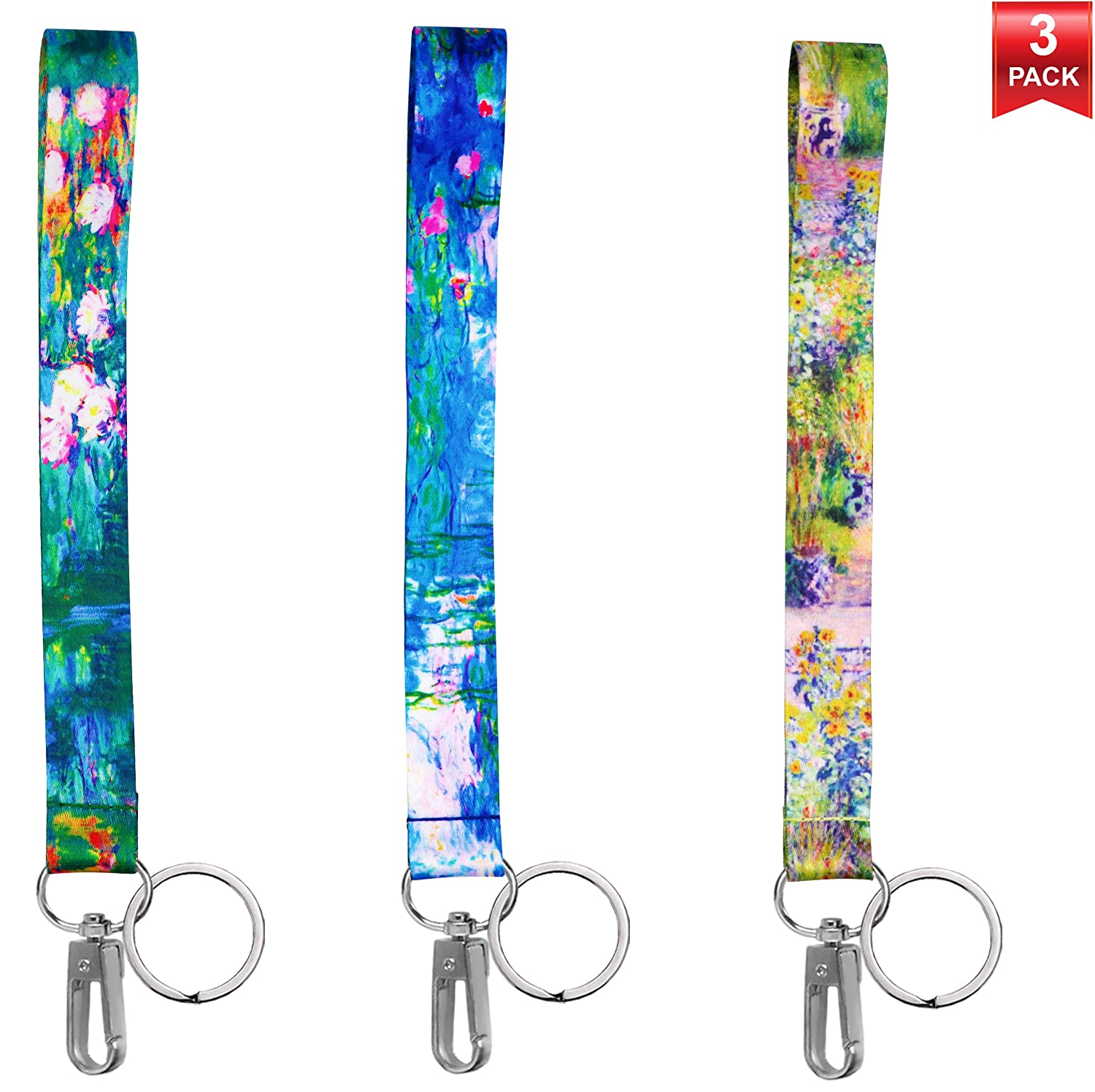 Teachers Waterproof Clear ID Badge Case Van Gogh Collection. Nurses 3-Pack Assorted Designs Lanyards with ID Holder /& Key Ring for Keys Cruise Ship Card Essential Cruise Ship /& Work Accessories