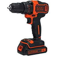 BLACK+DECKER BDCDD186B-XE 18V Lithium-ion Two Speed Drill Driver + 400mA charger with Two Batteries