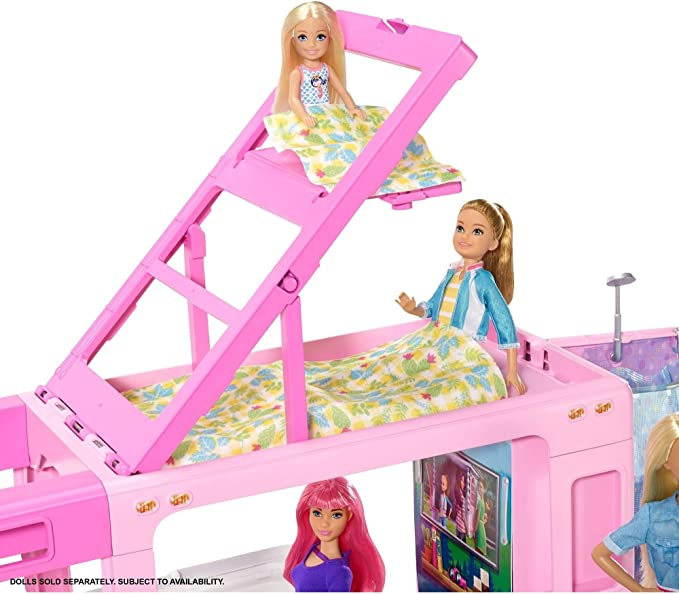 Boat And 50 Accessories New Barbie 3-In-1 Dreamcamper Vehicle With Pool Truck