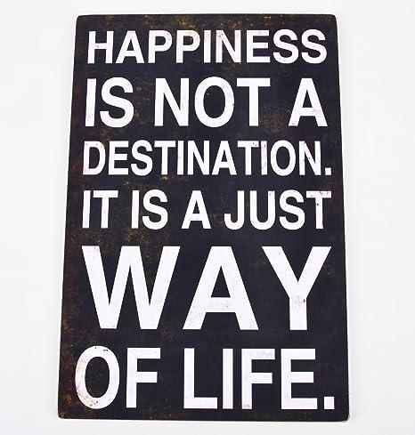 Cartel Happiness Madera 60 x 40 x 2 cm Negro Diseño Vintage ...