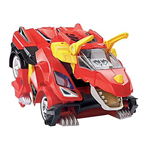 theres more to this rc car than meets the eye because not only is it a car but it also transforms into a dinosaur on wheels
