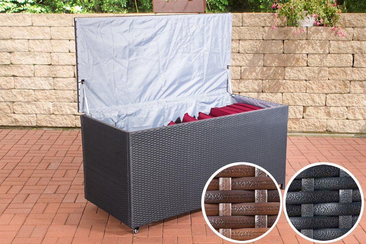 CLP Poly-Rattan Auflagenbox KUDDE, Rattan-Box für Kissen & Auflagen, bis zu 2 Farben + 2 Größen wählbar 150 x 70 cm, Höhe 75 cm, schwarz