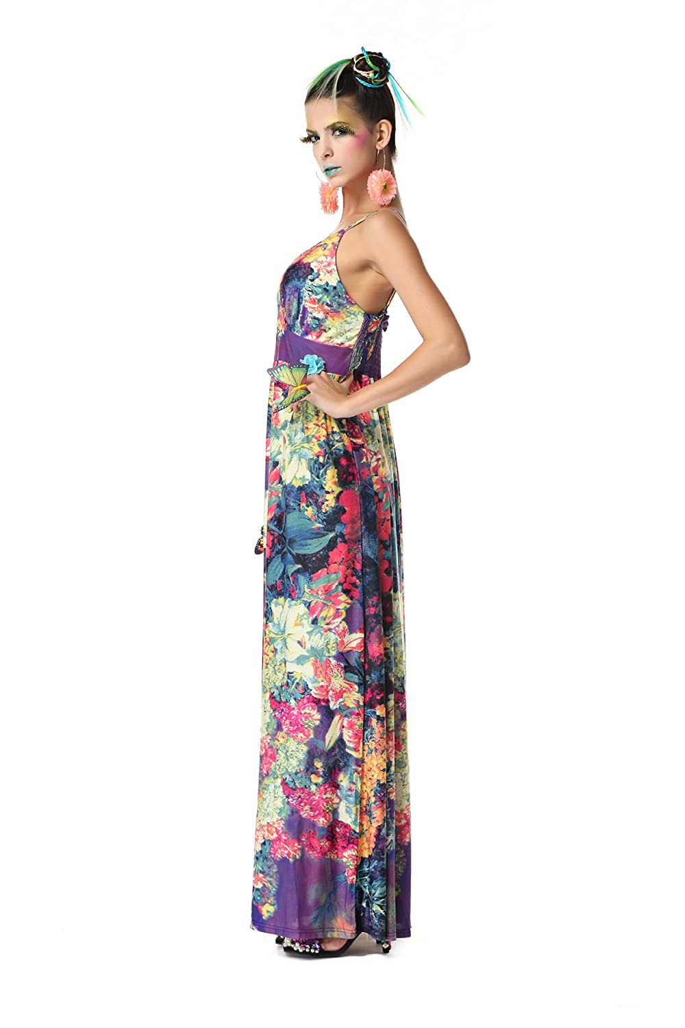 Polarfox Womens Floor Length Floral Print Dresses at Amazon Womens Clothing store: