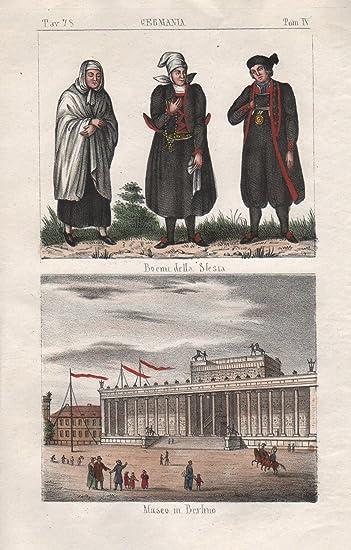 Schlesien Silesia Polen Berlin Poland Tracht Trachten Lithographie