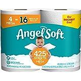 ANGEL SOFT Toilet Paper Bath Tissue, 4 Mega Rolls, 425+ 2-Ply Sheets Per Roll