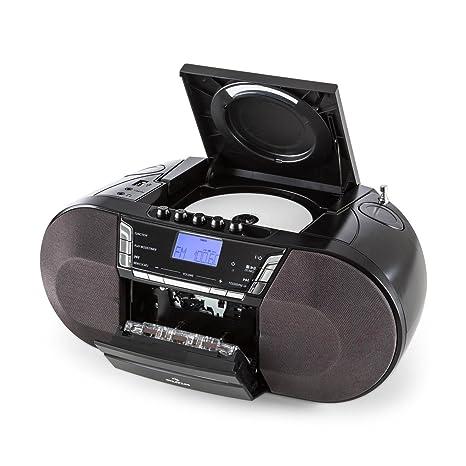 Auna Jetpack Radio Casete Portátil • Altavoces Estéreo • USB • MP3 • Reproductor CD •