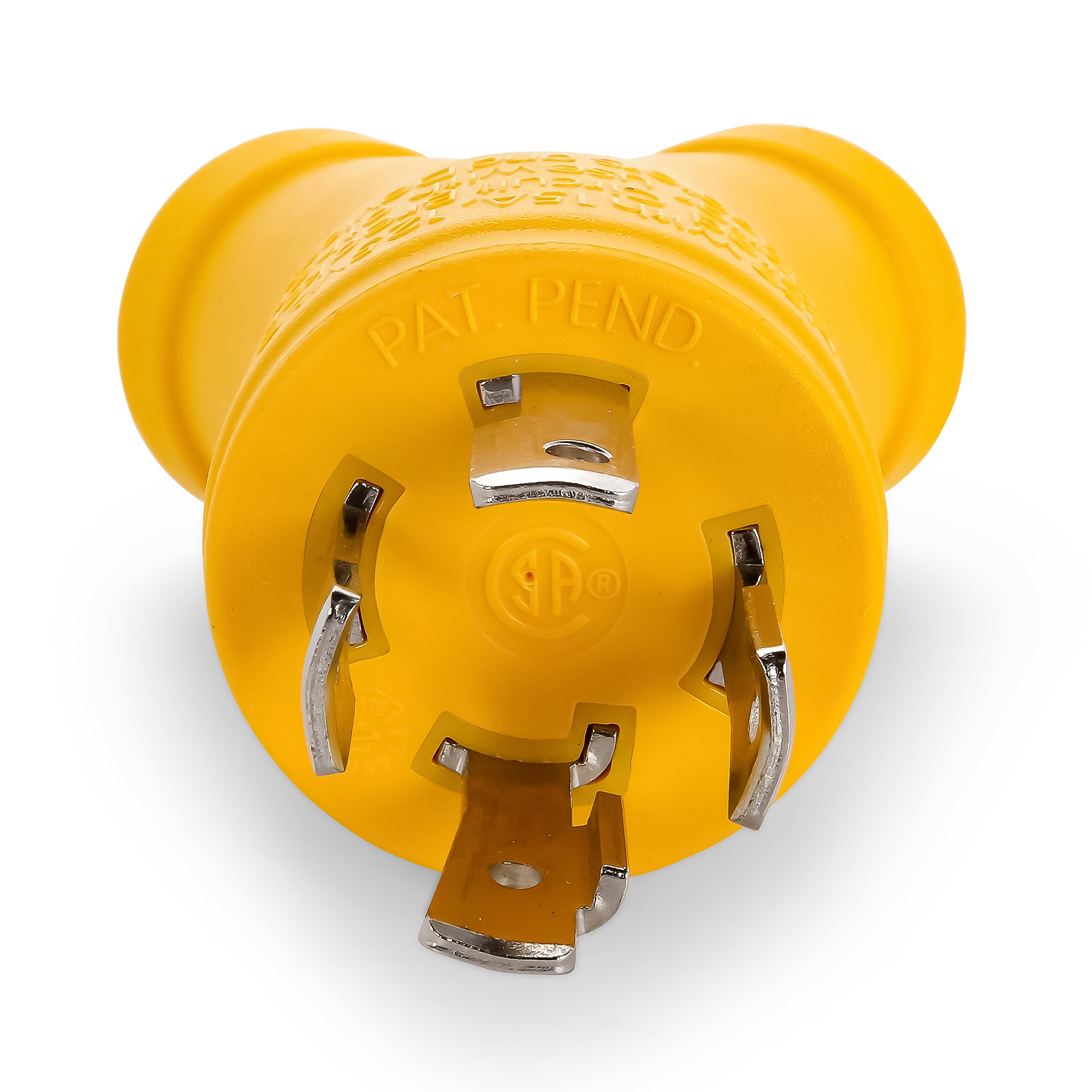 Camco Heavy Duty PowerGrip 4-Prong Generator Adapter - Allows You to Easily and Safely Distribute Power from 30 Amp Male Receptacle Into Two 15 Amp Female Receptacles (55438)