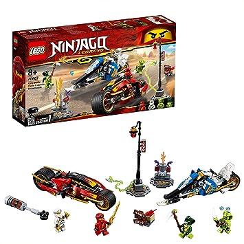LEGO Ninjago - Moto Acuchilladora de Kai y Motonieve de Zane, juguete de construcción divertido de carreras ninjas (70667)