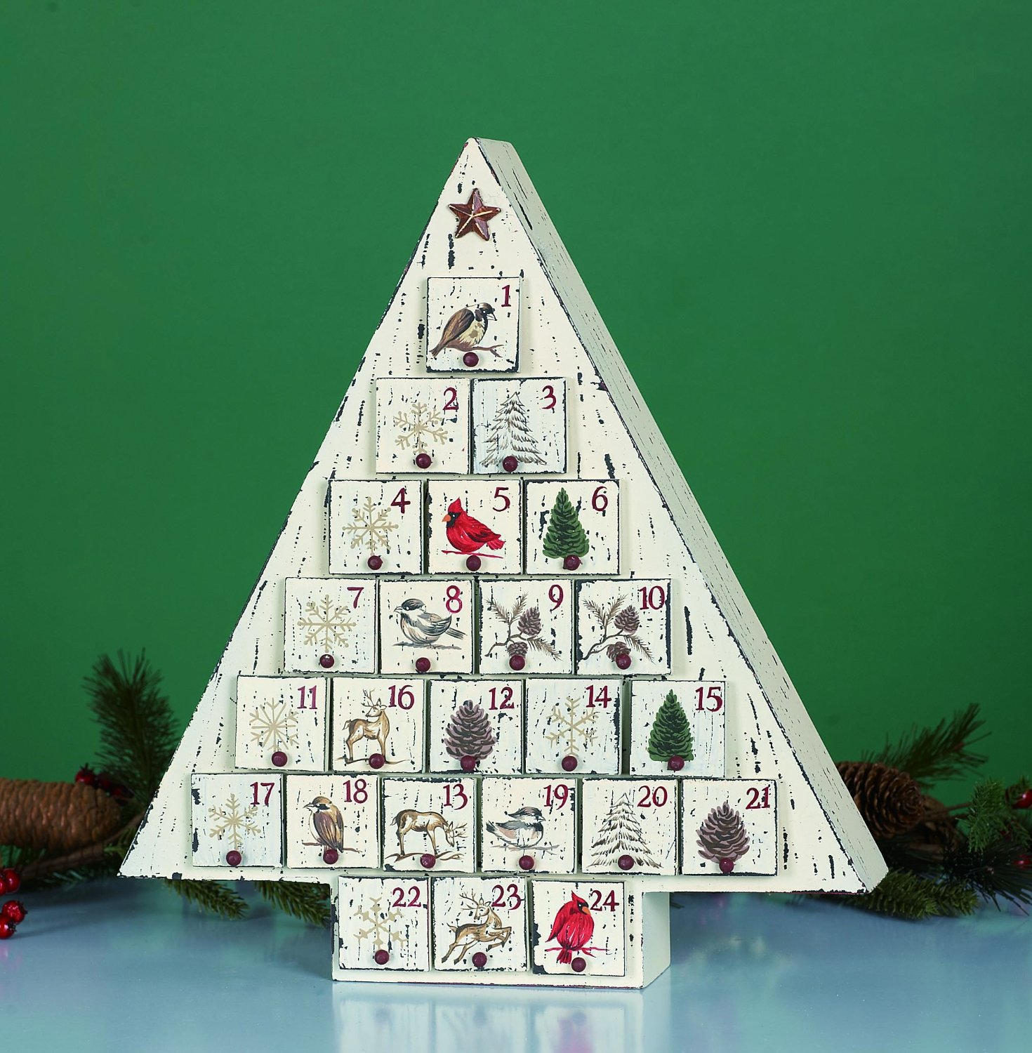 White Wood Holiday Tree Advent Countdown Calendar with 24 Storage Drawers and Base