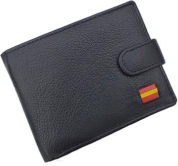 Cartera Billetero Monedero Americano, Bandera de España, Caballero -Piel Autentica, Color Negro: Amazon.es: Equipaje