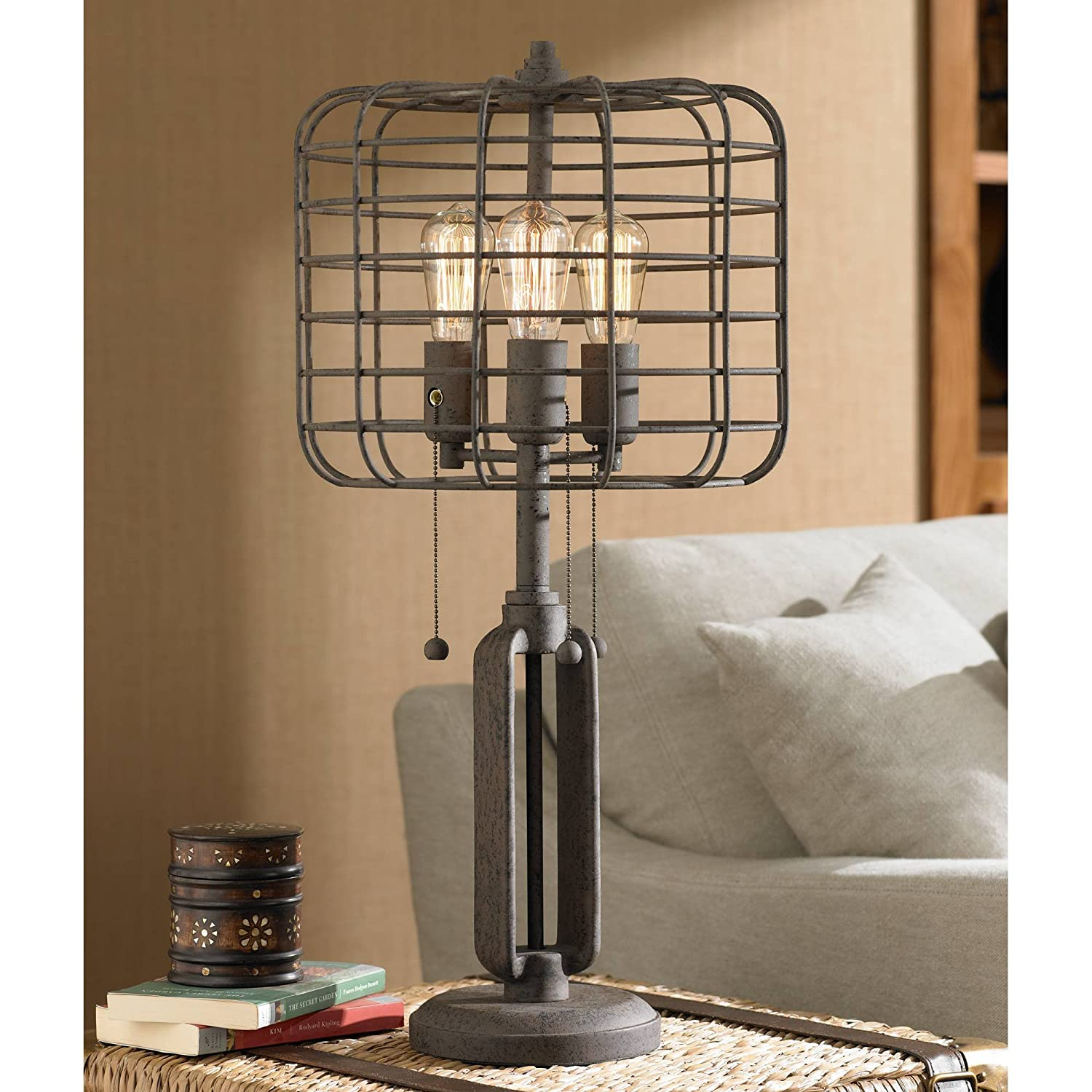 Industrial table lamp rustic metal cage accent edison bulb for living room family bedroom bedside nightstand franklin iron works amazon com