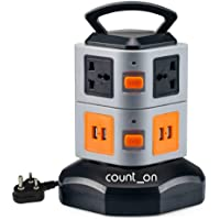 Count On ABS and Fireproof Material Power Strip Extension Board (Orange and Black)