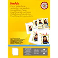 Kodak 10 Sheet Gloss A4 Photo Sticker Paper! Turn Your Pictures into Stickers!, (4027205)