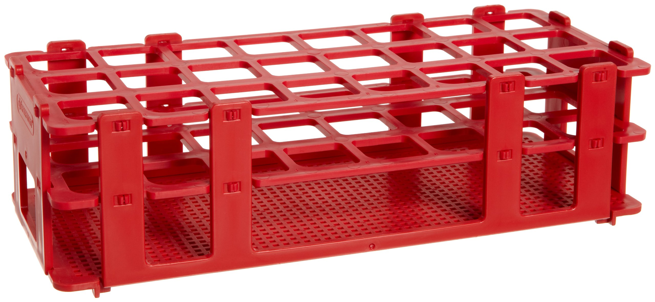 Bel-Art F18746-0003 No-Wire Test Tube Rack; 20-25mm, 24 Places, 9.7 x 4.1 x 2.5 in., Polypropylene, Red by SP Scienceware