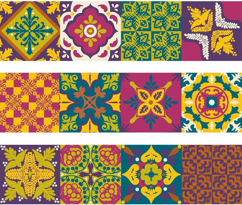 Bande de vinyle d/écoratif autocollant mural amovible pour autocollants avec motif de carrelage carrelage portugais Collection Belem Set de 15 unit/és 3 m/ètres lin/éaires