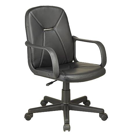 Adec Oficina, Silla Escritorio Base giratoria con Ruedas, simil, sillón despacho Modelo Genesis, Medidas, Piel_sintética, Negro, 55cm x 87-96cm de ...