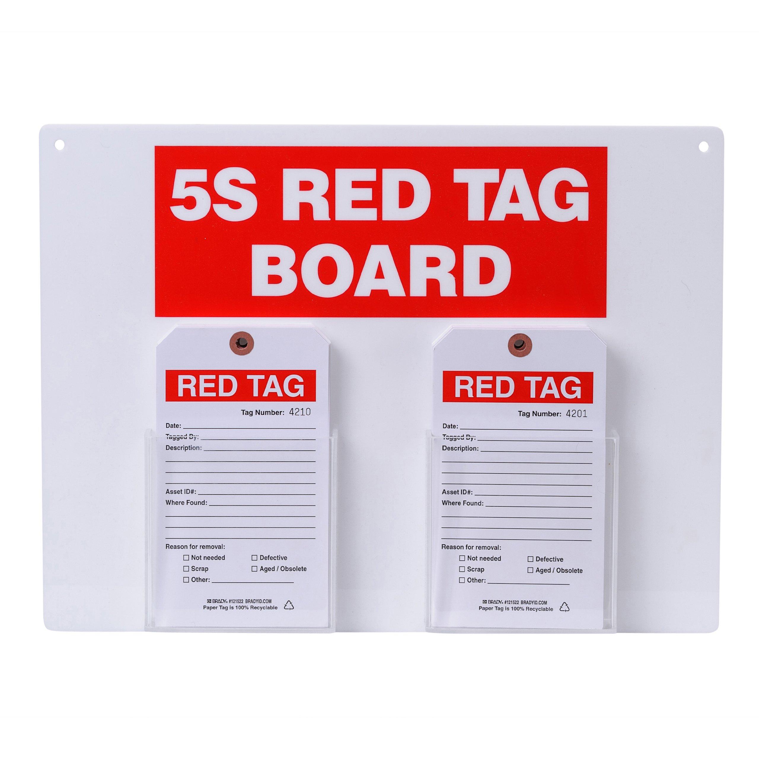 Brady  122055, Red on White 5S Red Tag board with 7'' H x 4'' W Tags (1 Kit) by Brady