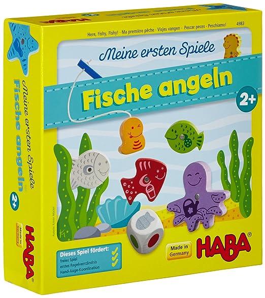 Haba 4983 - Meine ersten Spiele Fische angeln, spannendes Angelspiel mit bunten Holzfiguren, Lernspiel und Holzspielzeug ab 2