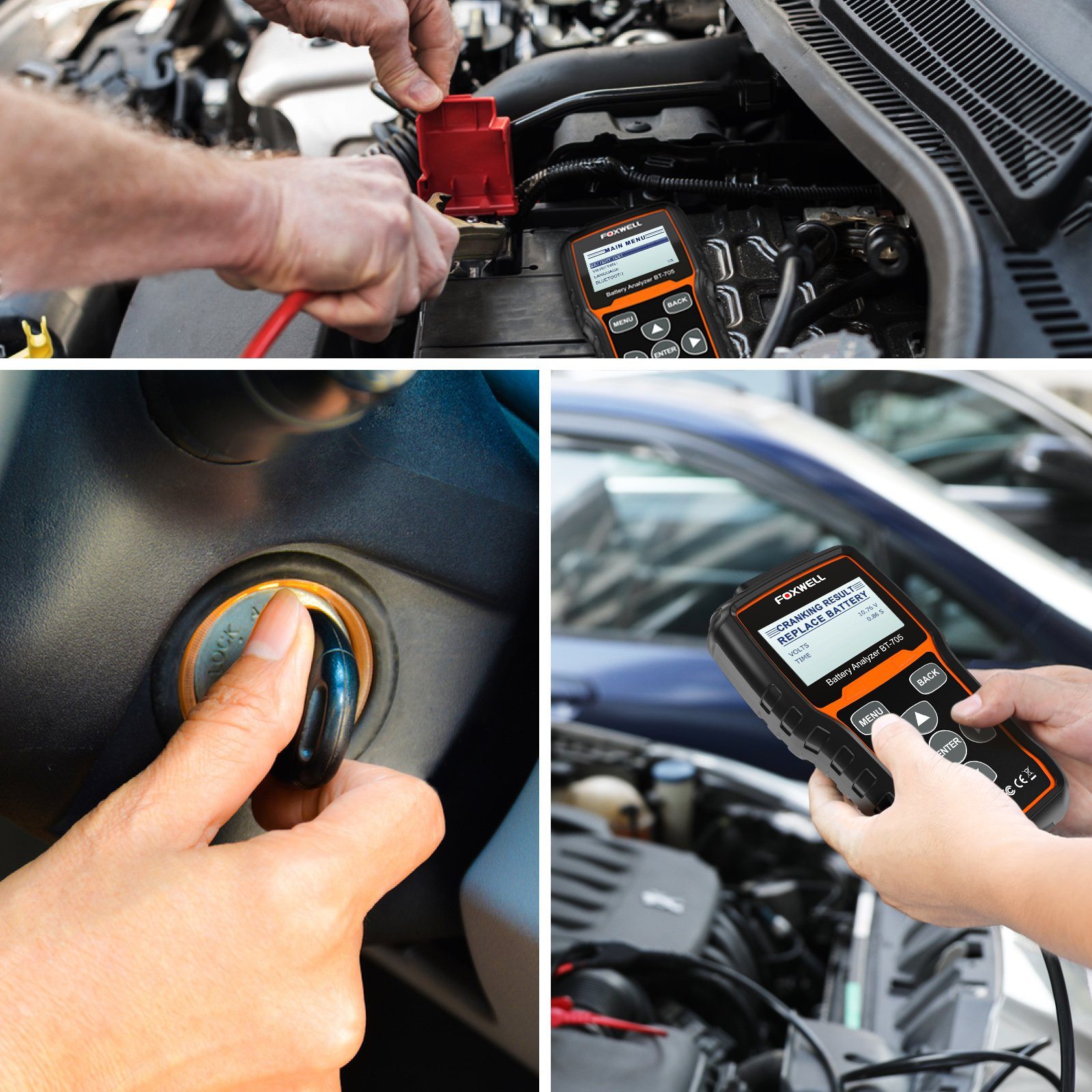 FOXWELL Battery Tester BT705 Automotive 100-2000 CCA Battery Load Tester 12V 24V Car Cranking and Charging System Test Tool Digital Battery Analyzer for Cars and Heavy Duty Trucks by FOXWELL (Image #5)