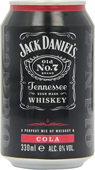 Jack Daniels Tennessee Whiskey and Cola Premixed Cans 330 ml (Pack of 12)