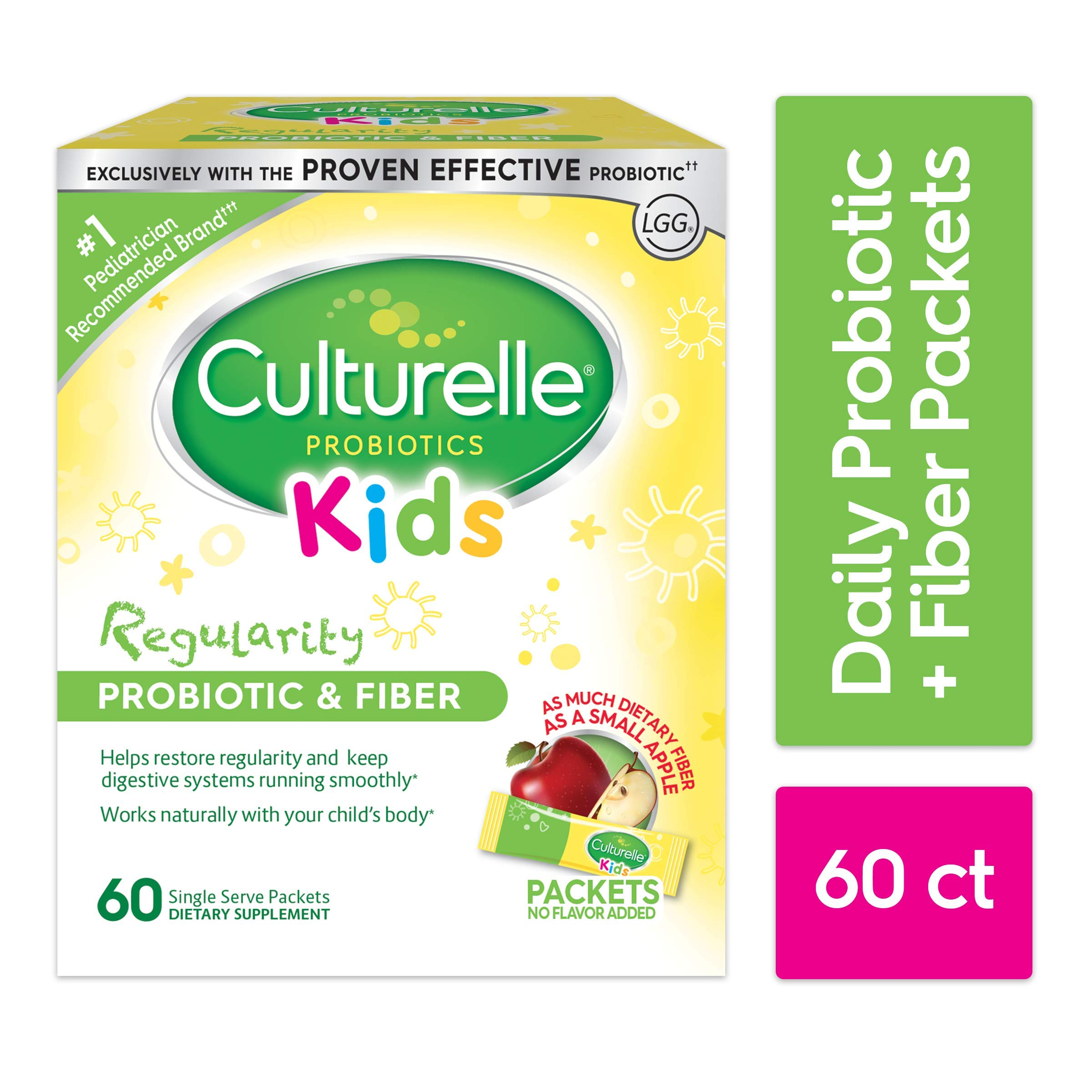 Culturelle Kids Regularity Probiotic & Fiber Dietary Supplement | Helps Restore Regularity & Keeps Kids' Digestive Systems Running Smoothly* | Works Naturally with Child's Body* | 60 Single Packets by Culturelle