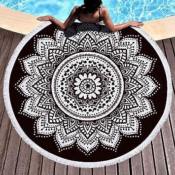 sunfree1 Toalla de Playa Bohemia Mandala ins, Toalla de baño con mantón Grande para Exteriores, tapicería de Yoga para colchonetas, Negro 01: Amazon.es: ...