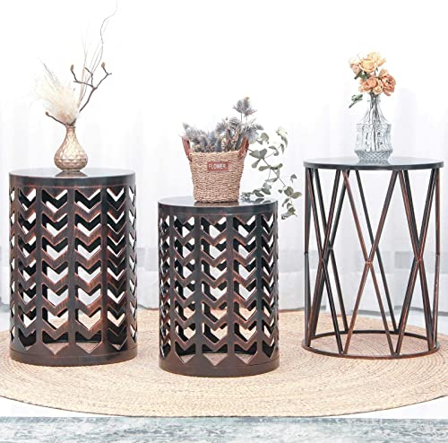 Set of 3 Heavy-Duty Round End Table