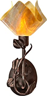 product image for Jezebel Signature BRSC-BBH-MA-FP12-HON Flame Style Brown with Brown Highlights Branch Sconce with Magnolia Leaves, Honeysuckle