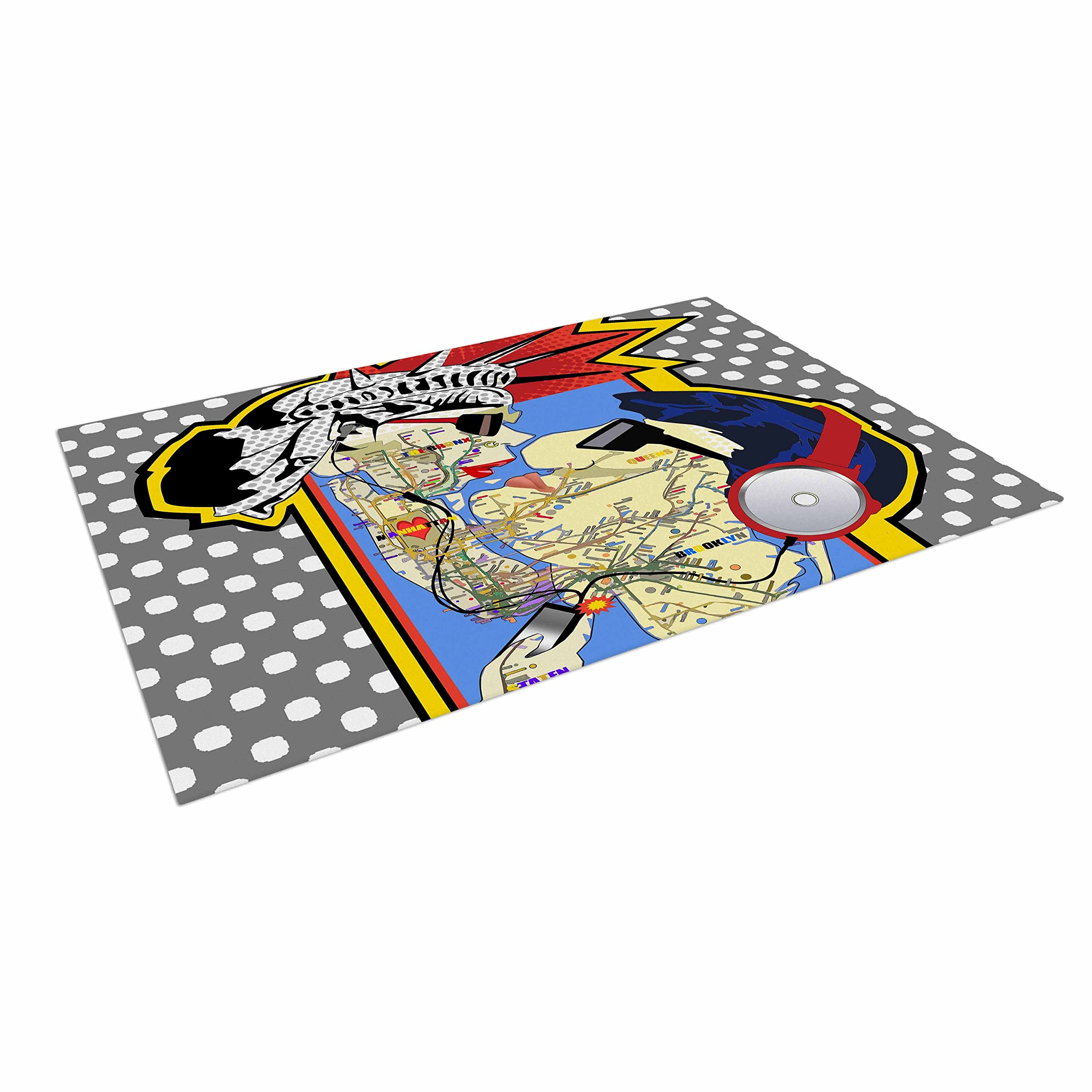 KESS InHouse Lazar Milanovic ''You Got The Big Apple Boy! '' Red Yellow Indoor/Outdoor Floor Mat, 4' x 5'