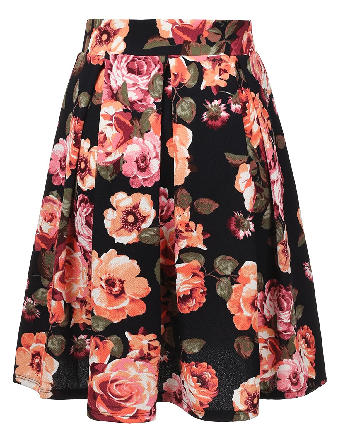 2a170f058b4bc Doublju Elastic Waist Flare Pleated Skater Midi Skirt for Women with Plus  Size CWBMS013
