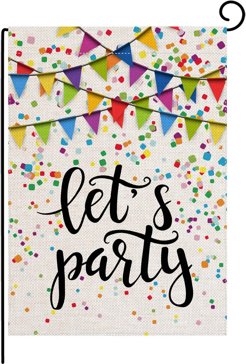 pingpi Let's Party Festive Birthday Home Garden Flag 12.5