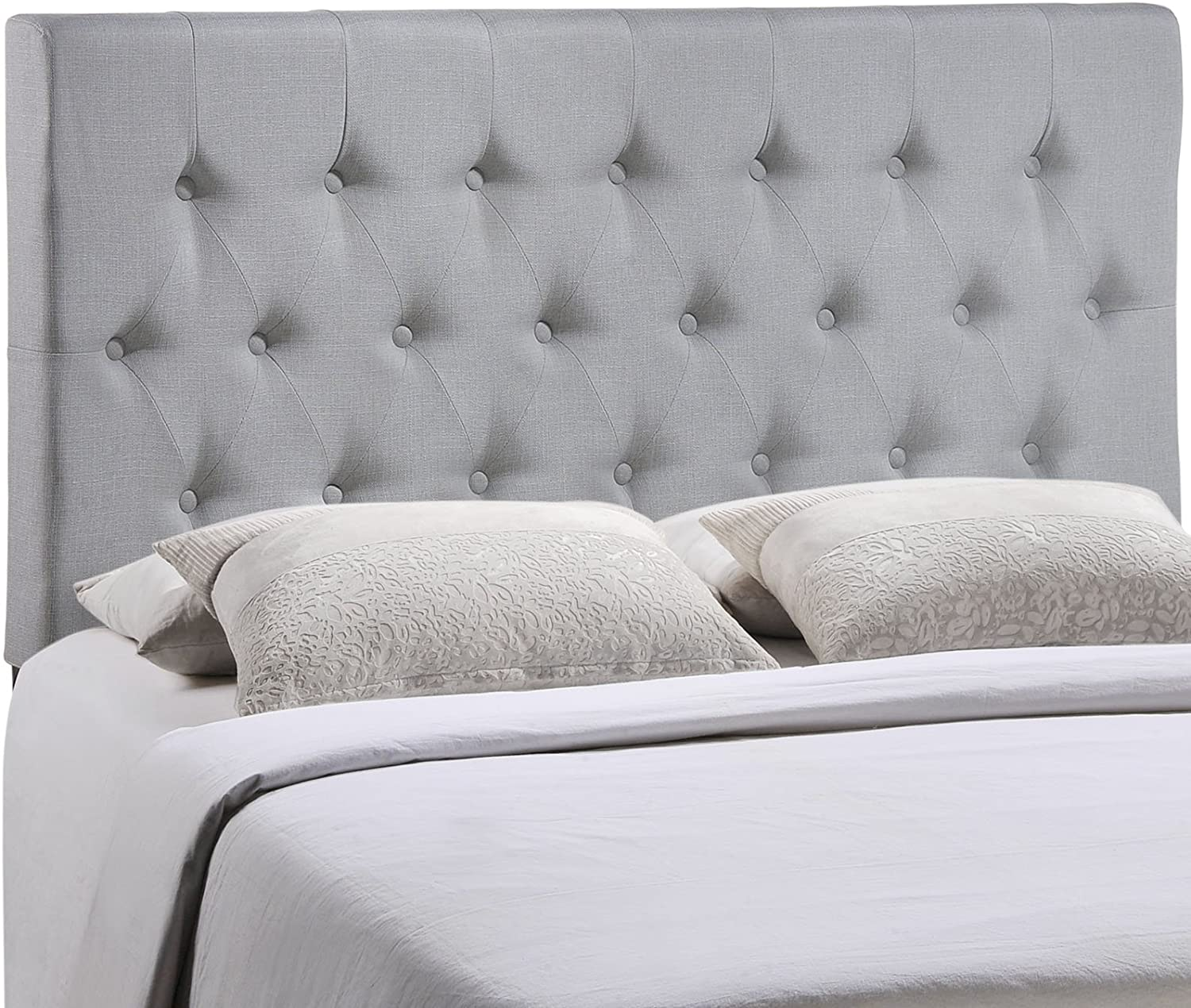 Modway Clique Tufted Button Diamond Pattern Linen Fabric Upholstered Queen Headboard in Gray