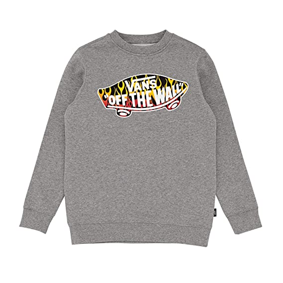 dc4458123d1241 Vans OTW Crew Boys Sweater Small Concrete Heather Flames