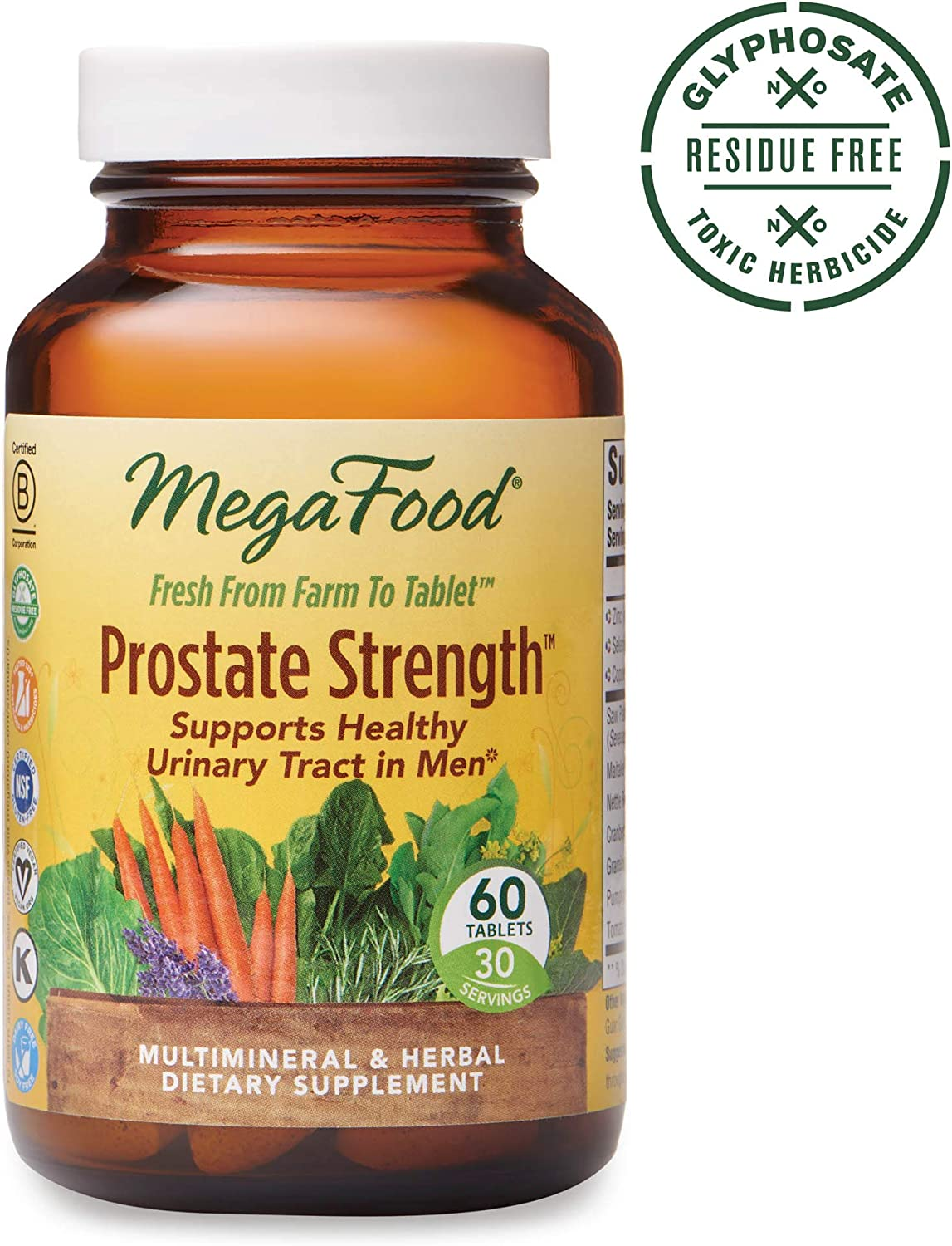 MegaFood, Prostate Strength, Supports Healthy Urinary Function in Men, Multimineral and Herbal Supplement, Vegan, 60 Tablets 30 Servings FFP