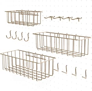 Pegboard Accessories - Pegboard Basket Set & Hook Assortment for Craft | Peg Hooks and Wire Baskets fit Most 1/4