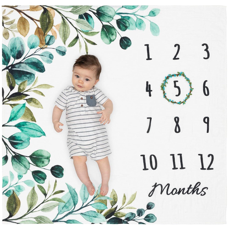 "Organic Baby Monthly Milestone Blanket Boy or Girl - Green Leaf Baby Month Blanket with Wreath Frame - Leaves Milestone Blanket for Newborn to 12 Months Milestones, Boho Nursery Decor, 47""x47"""