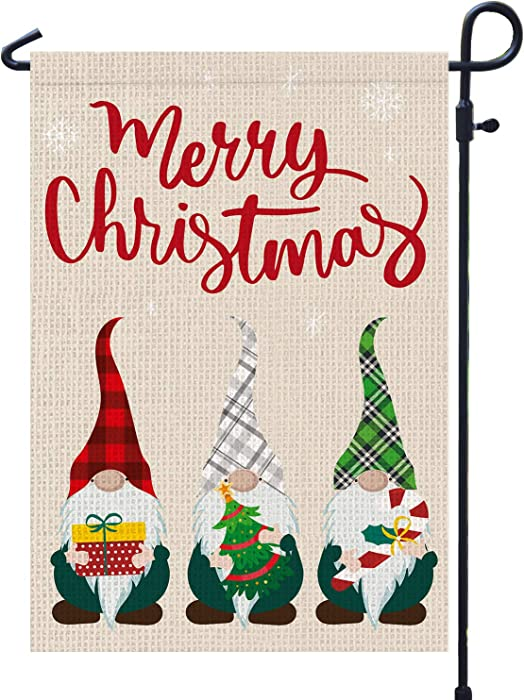 Merry Christmas Garden Flags Burlap 12x18 Double Sided with Buffalo Check Plaid Gnome Winter Garden Flag for Outside Yard Outdoor Decoration